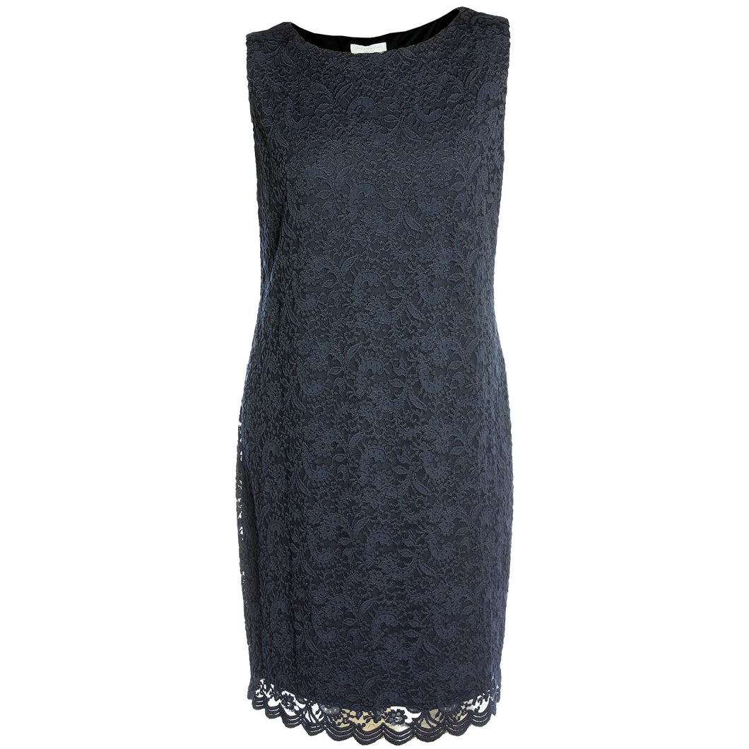 Charter Club Navy Blue Sleeveless Scalloped Edge Lace Dress