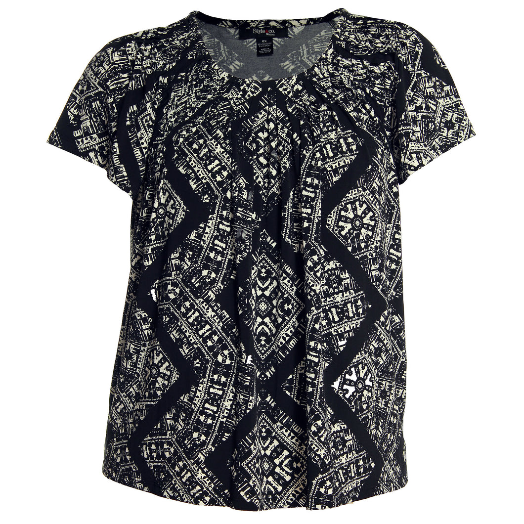 Style & Co Black / White Print Short Sleeve Pleat Neck Top