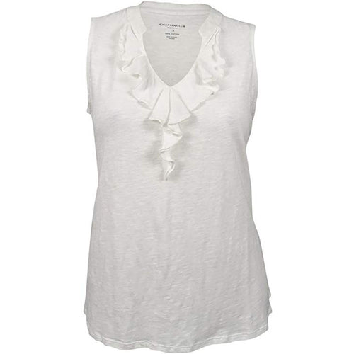 Charter Club White Sleeveless Ruffled Front Cotton Knit Top Plus Size
