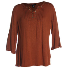 Style & Co Blue or Brown Long Bell Sleeve Grommet Embellished Knit Top Plus Size