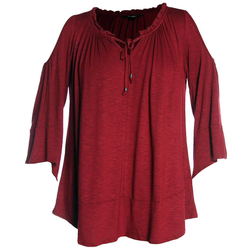 Style & Co Red Bell Sleeve Cold Shoulder Peasant Top