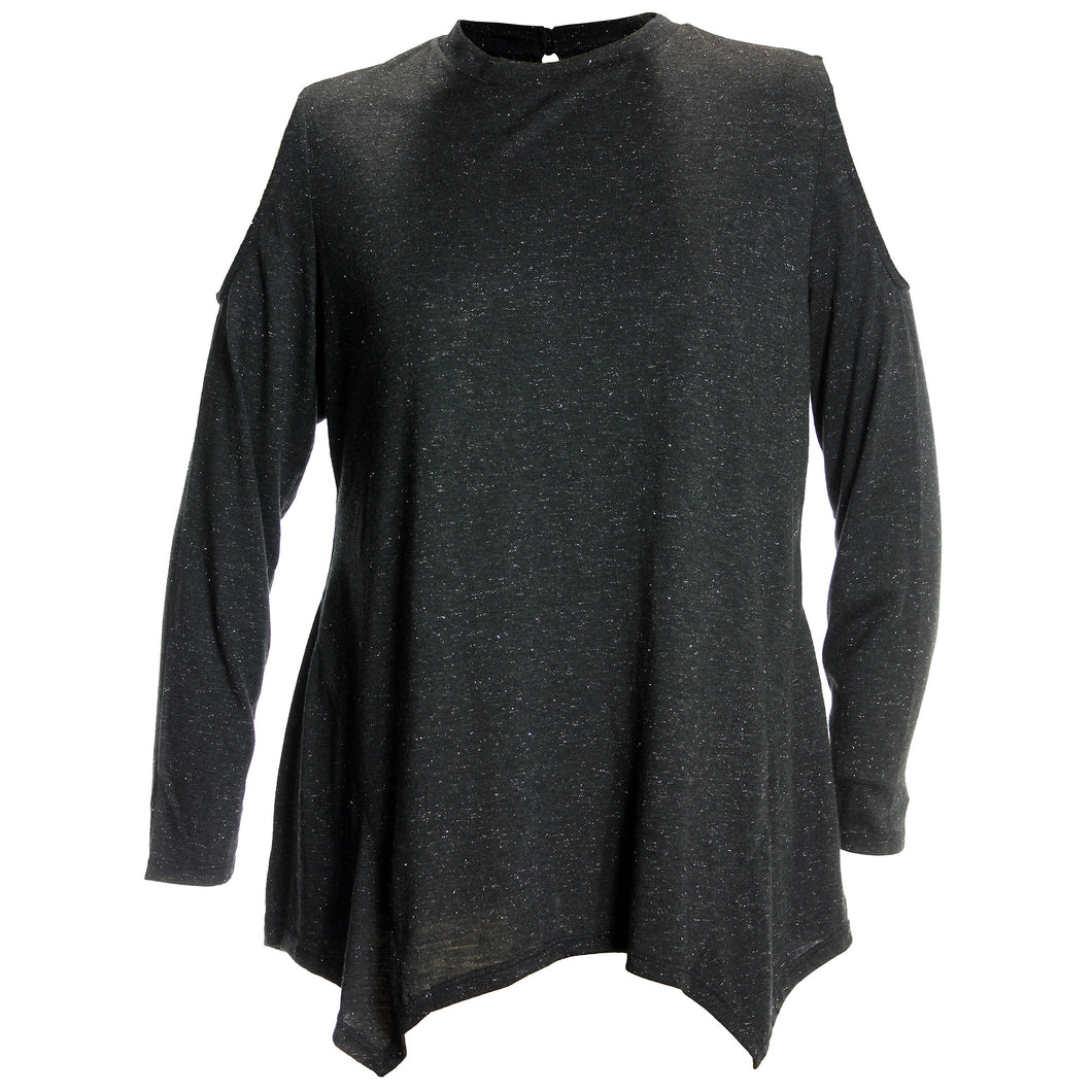 Style & Co Black Sparkle Cold Shoulder Asymmetric Hem Top