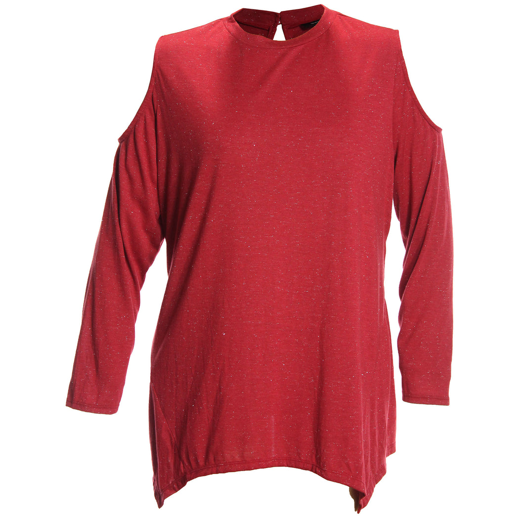 Style & Co Red Sparkle Long Sleeve Cold Shoulder Top