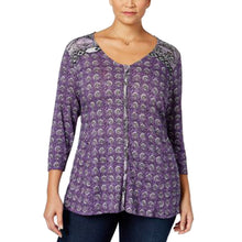 Style & Co Purple Print 3/4 Sleeve Button Front Knit Top Plus Size