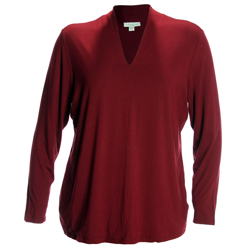 Charter Club Red Long Sleeve V-Neck Top