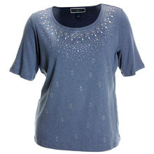 Karen Scott Blue or Tan Short Sleeve Stud Embellished Top