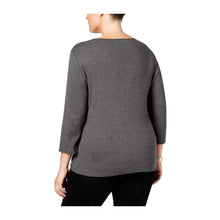 Karen Scott Gray 3/4 Sleeve Twist Front Scoop Neck Shirt Plus Size