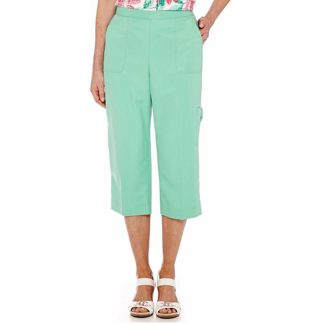 Alfred Dunner Pink or Green Pull on Flat Front Capri Pants Plus Size