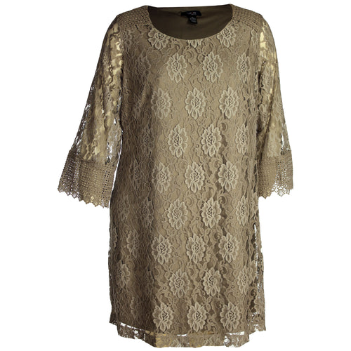 Style & Co Tan 3/4 Sleeve Crochet Lace Shift Dress