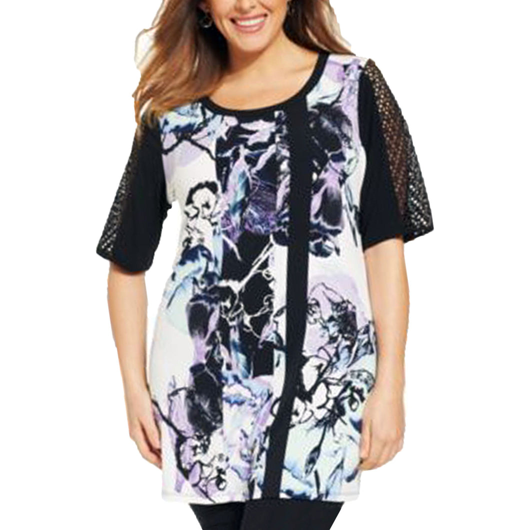 Style & Co Multi Color Floral Print Sheer Sleeve Tunic Length Knit Top Plus Size