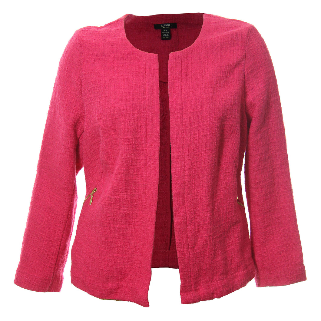 Alfani Hot Pink Long Sleeve Open Front Tweed Jacket