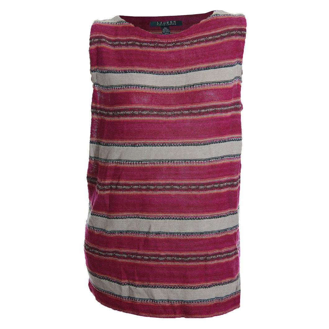 Ralph Lauren Multi Color Striped Sleeveless Lightweight Sweater