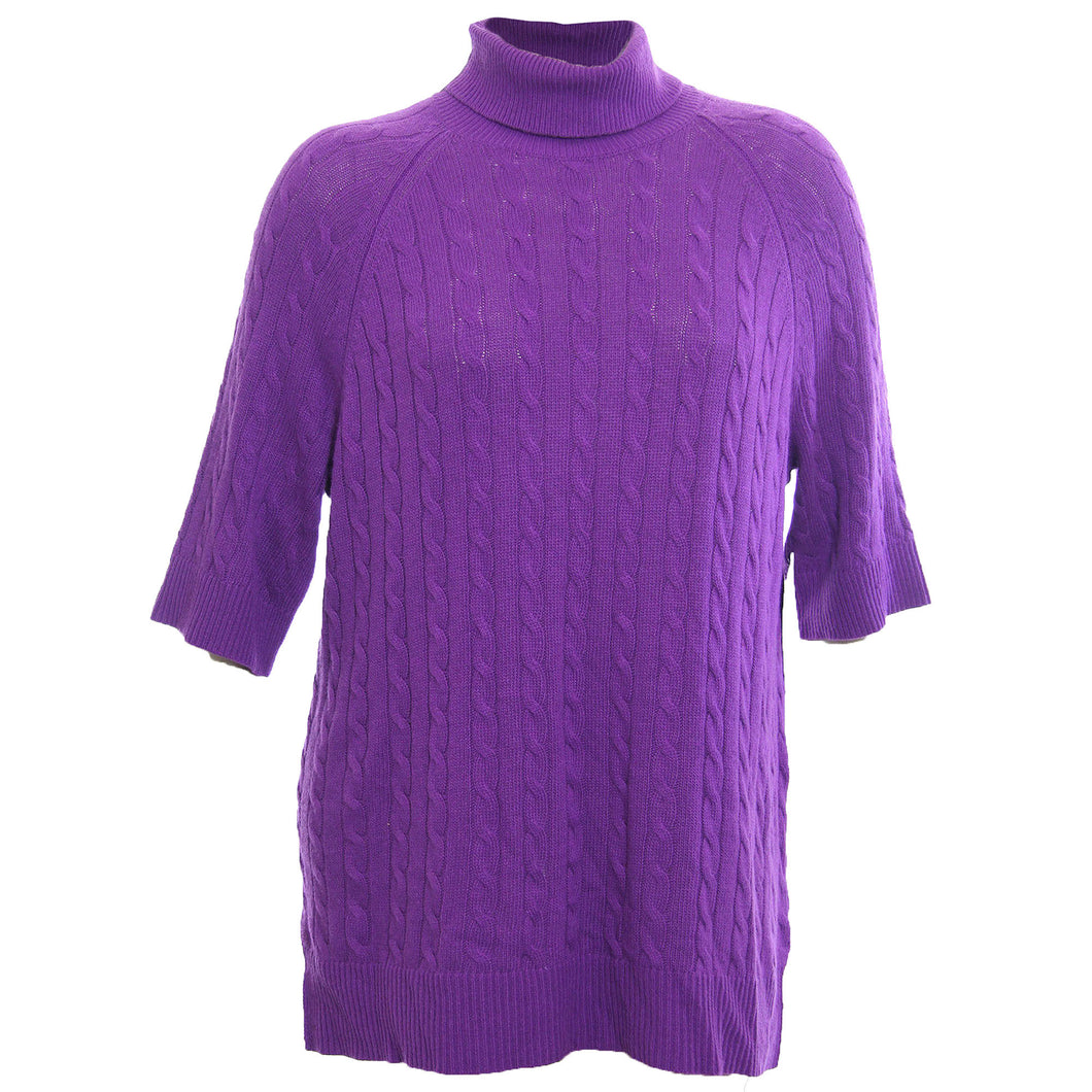 Ralph Lauren Purple 3/4 Sleeve Turtleneck Cashmere Wool Cable Knit Sweater