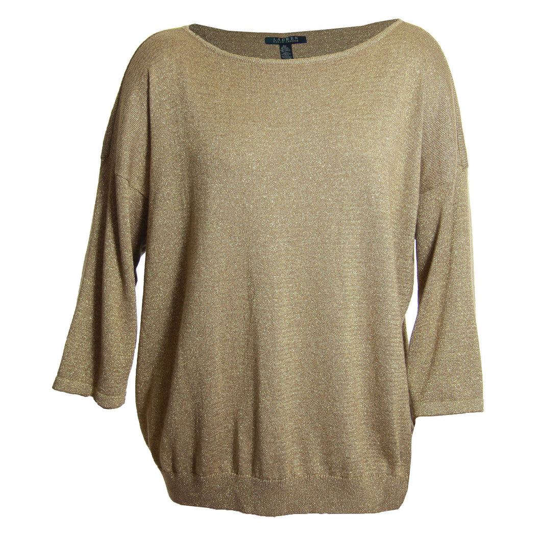 Ralph Lauren Gold Lurex Shimmer 3/4 Sleeve Wool Blend Pull Over Sweater