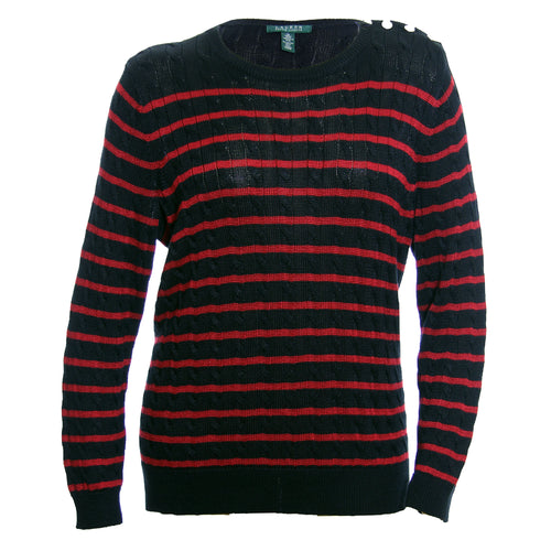 Ralph Lauren Black & Red Striped Long Sleeve Button Detail Sweater