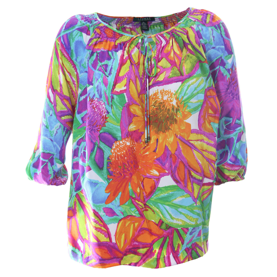Ralph Lauren Multi Color Floral Print 3/4 Sleeve Shirt Blouse