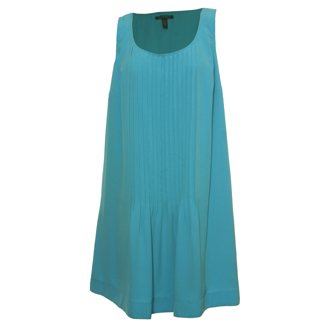 Ralph Lauren Turquoise Blue Sleeveless Pleated Dress