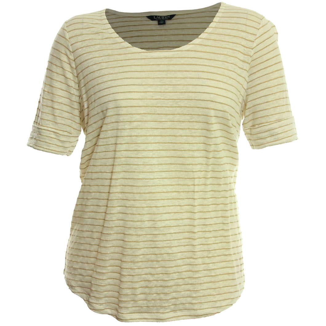 Ralph Lauren Striped Elbow Sleeve Linen Blend Knit Top