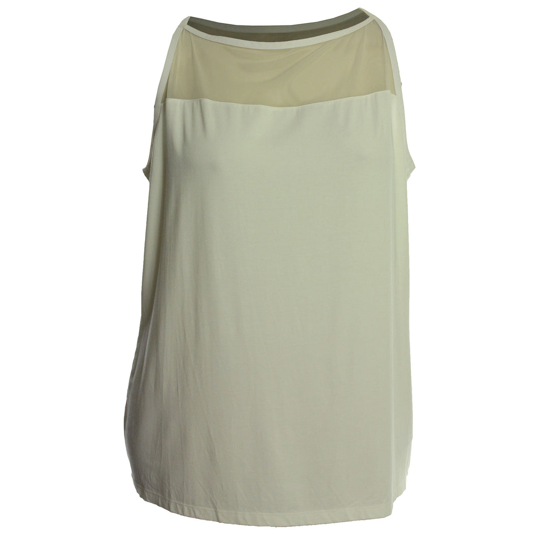 Ralph Lauren Ivory Sleeveless Knit Top with Mesh Yoke