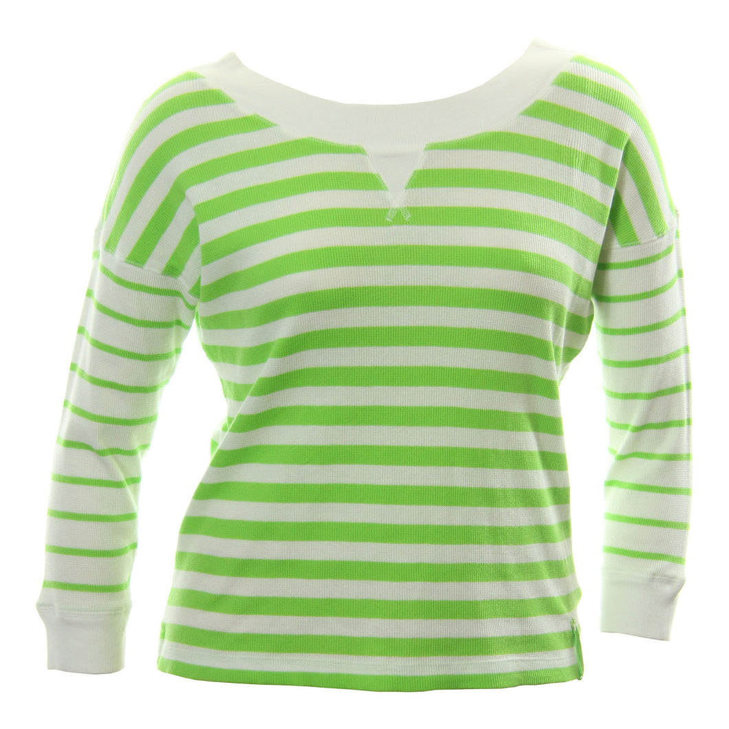 Ralph Lauren Green & White Striped Long Sleeve Waffle Knit Top Shirt