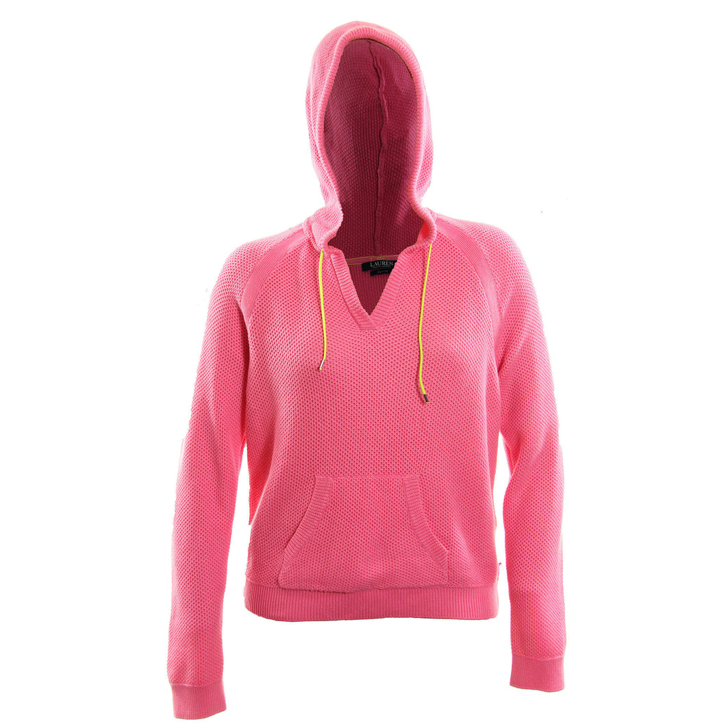 Ralph Lauren Pink Long Sleeve Textured Pull Over Hoodie Top Jacket