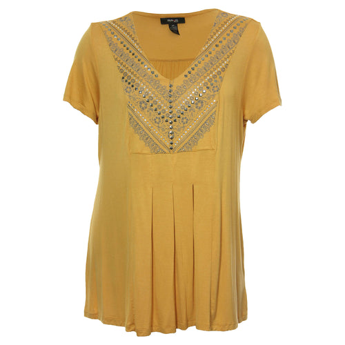 Style & Co Yellow Short Sleeve Embellished Pleat Front Shirt