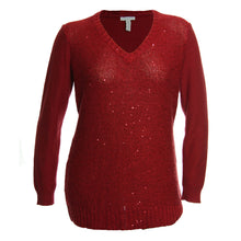 Charter Club Red or Beige Sequin Long Sleeve V-Neck Sweater