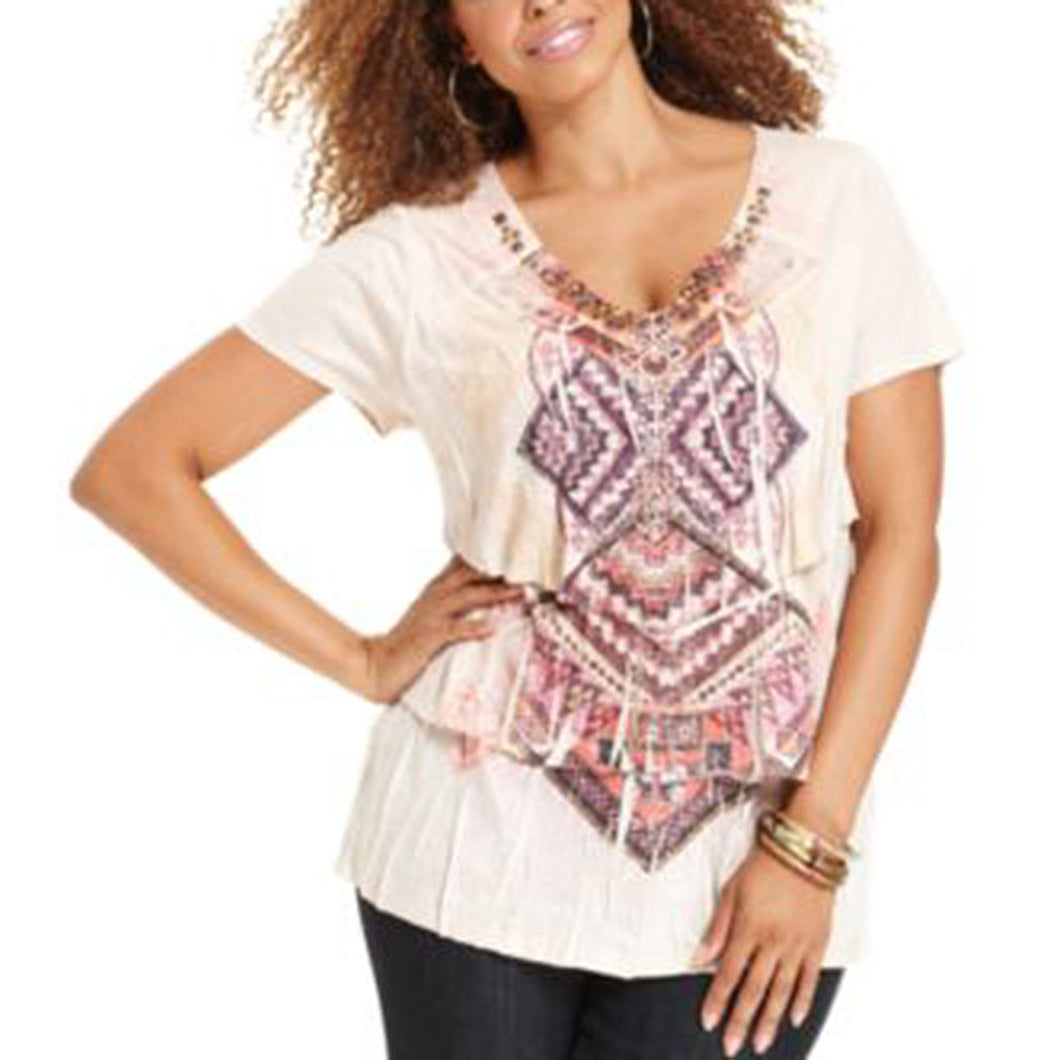 Style & Co Multi Color Print Short Sleeve Tiered Studded Top Plus Size
