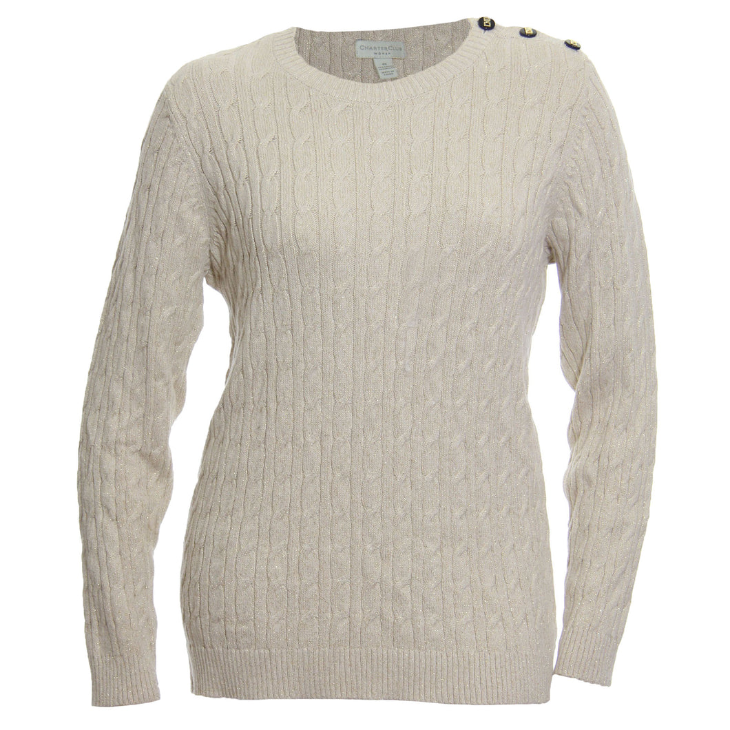 Charter Club Ivory Shimmer Long Sleeve Button Detail Cable Knit Sweater