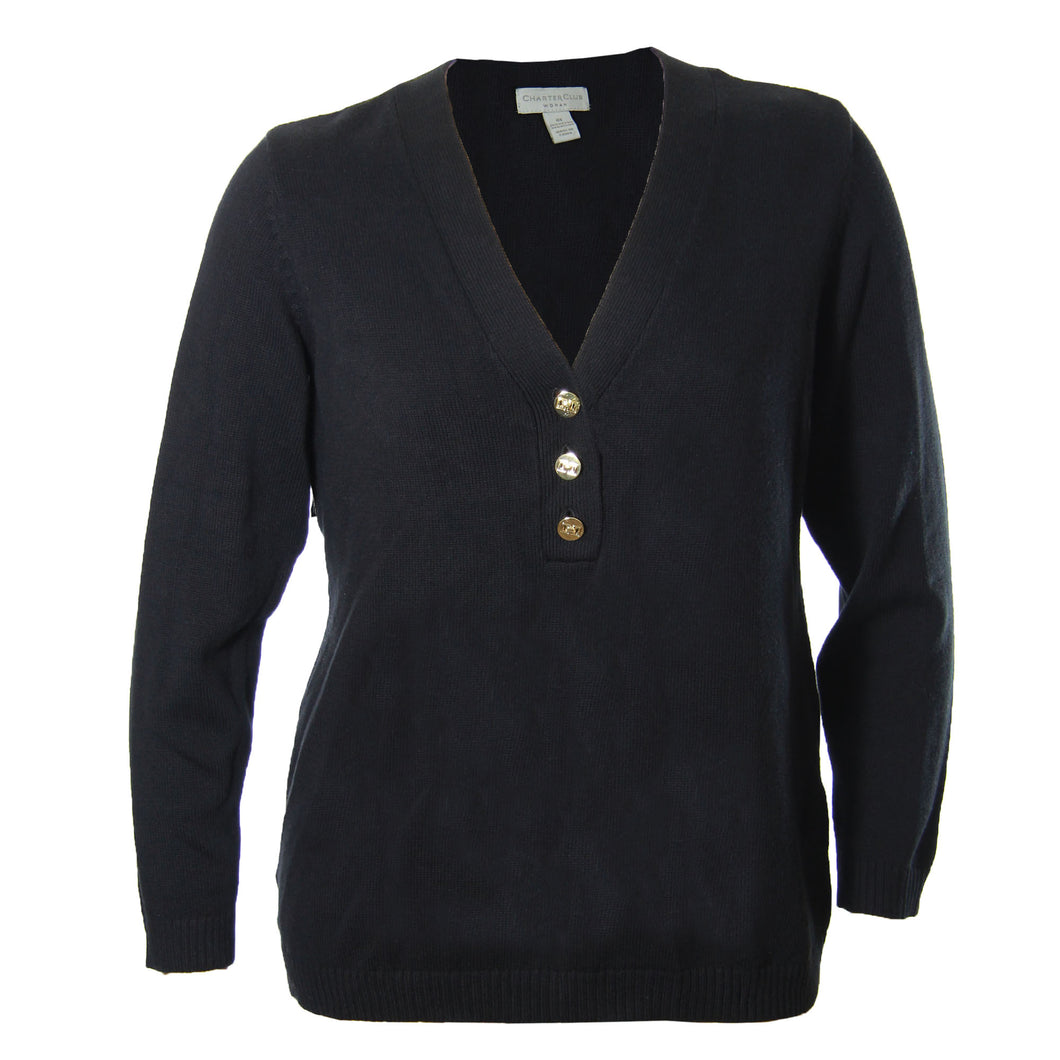 Charter Club Blue, Red or Black Long Sleeve V-Neck Sweater