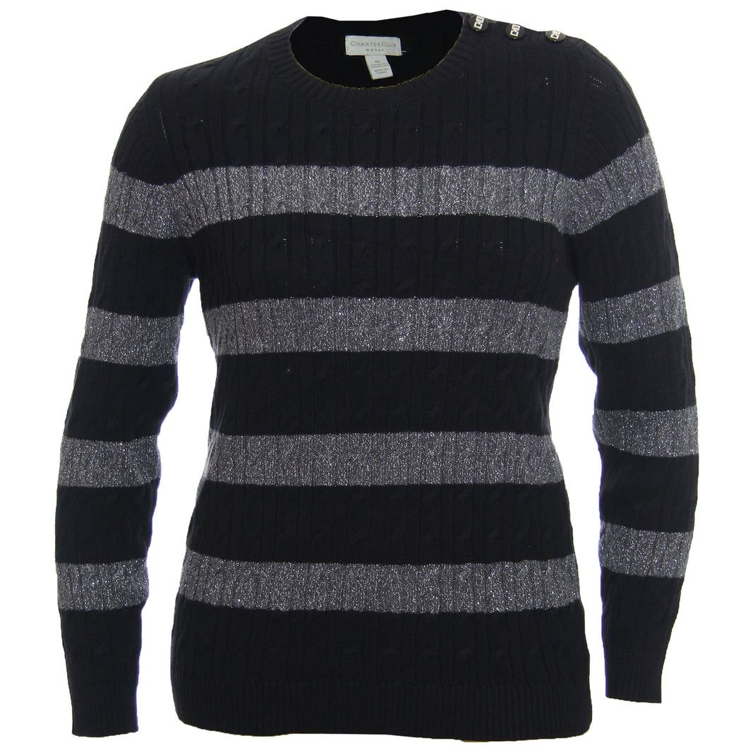 Charter Club Multi Color Striped Long Sleeve Button Detail Sweater