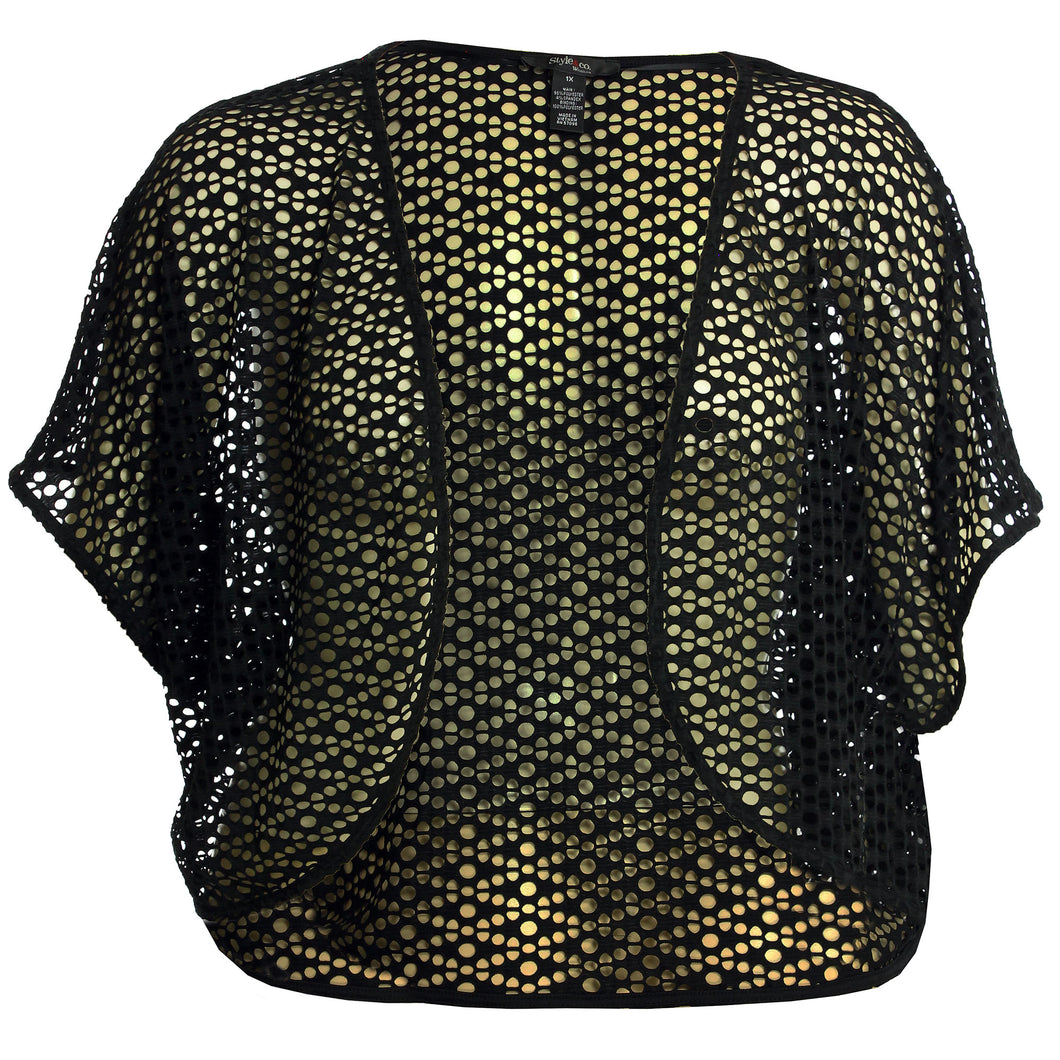 Style & Co Black Short Dolman Sleeve Open Weave Shrug Cardigan Sweater