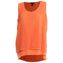 Style & Co Orange Sleeveless Eyelet Layered Tank Top Shirt