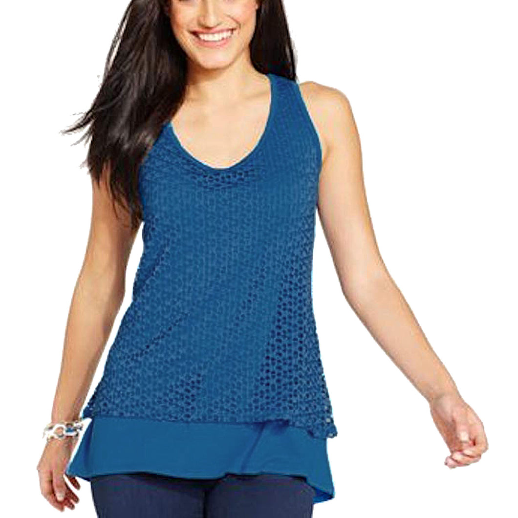 Style & Co Blue or Orange Sleeveless Layered Eyelet Tank Top Plus Size