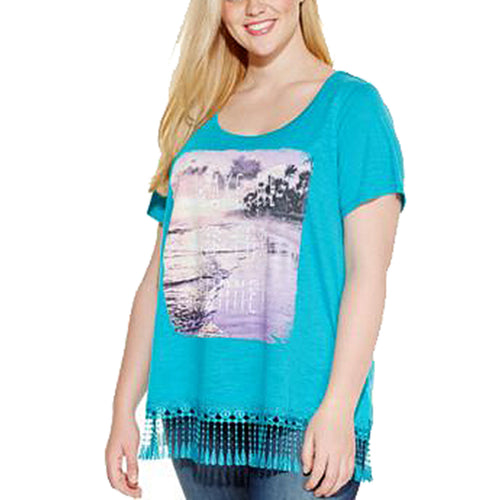 Style & Co Blue Short Sleeve Fringe Trim Graphic Shirt Plus Size