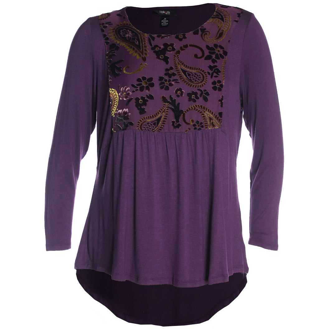 Style & Co. Purple Long Sleeve Mixed Media Burnout Top