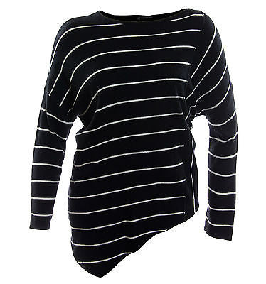 INC Multi Color Striped Long Sleeve Asymmetric Hem Sweater