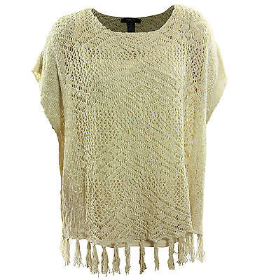 Style & Co Ivory Short Sleeve Open Knit Fringed Sweater