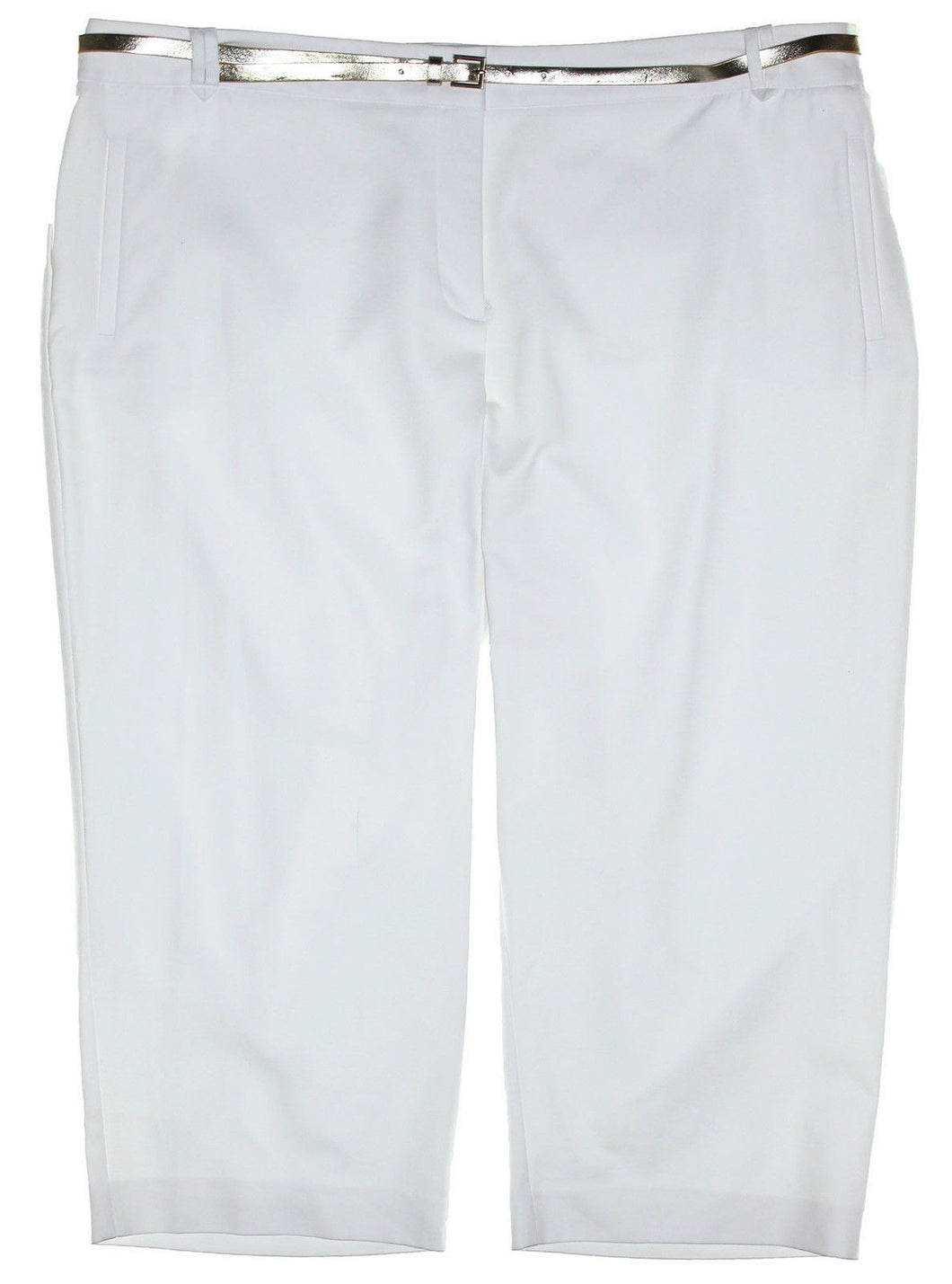 Charter Club White Tummy Slimming Classic Fit Belted Capri Pants