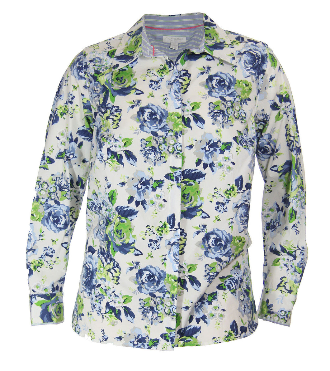 Charter Club Multi Color Floral Print Long Sleeve Button Down Shirt
