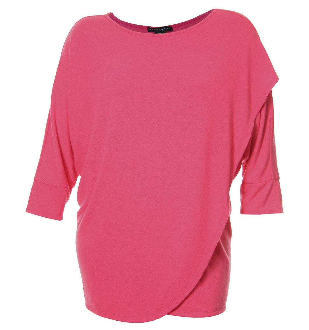 Grace Elements Pink or White 3/4 Sleeve Cross Front Shirt
