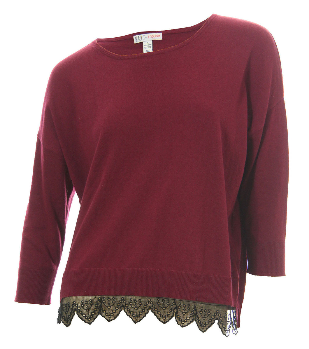 Made for Impulse Burgundy Long Sleeve Black Lace Trim Knit Top