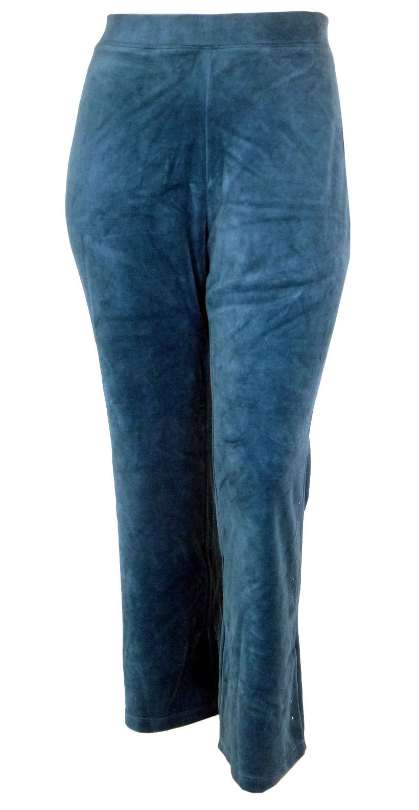 Style & Co Blue Wide Leg Rhinestone Embellished Velour Lounge Athletic Pants
