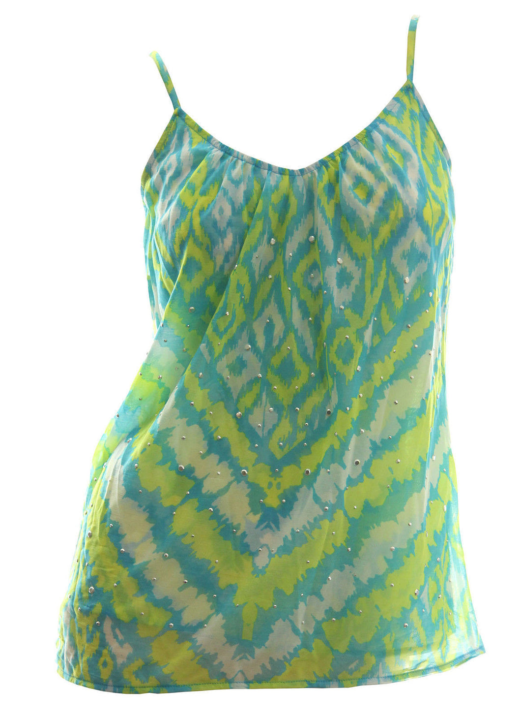 INC Multi Color Ikat Print Spaghetti Strap Studded Top