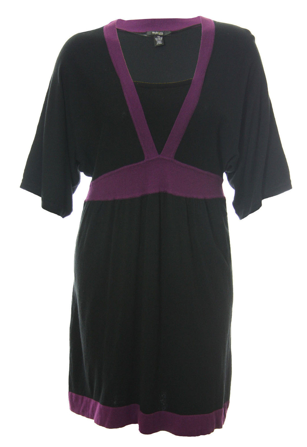 Style & Co Black & Purple Color Block 3/4 Sleeve Dress