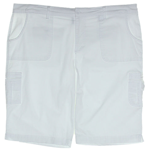 Style & Co White Cotton Blend Bermuda Cargo Shorts