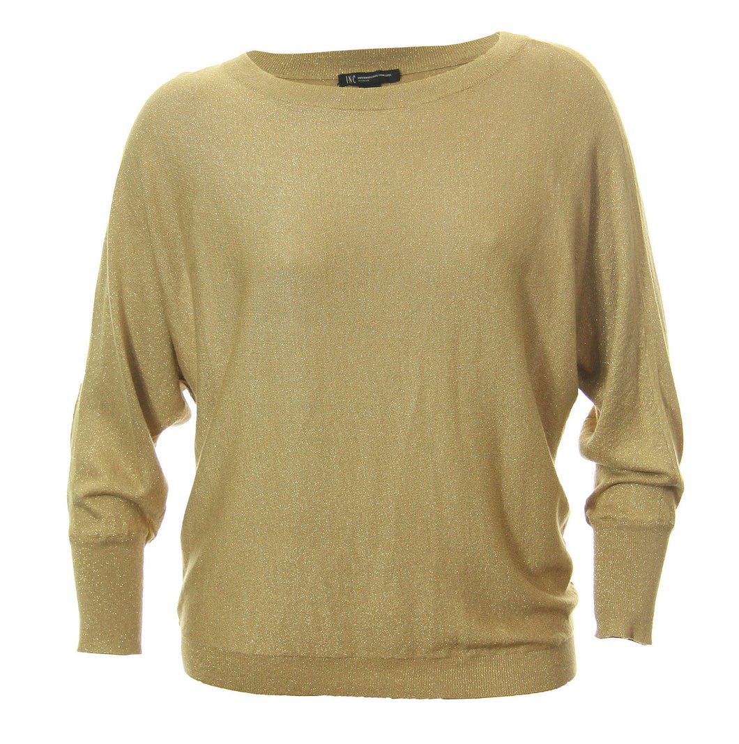 INC Gold Shimmer Long Dolman Sleeve Pull Over Sweater