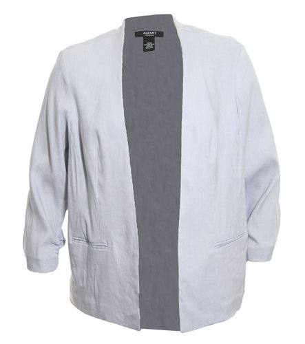 Alfani Light Gray 3/4 Ruched Sleeve Open Front Linen Jacket