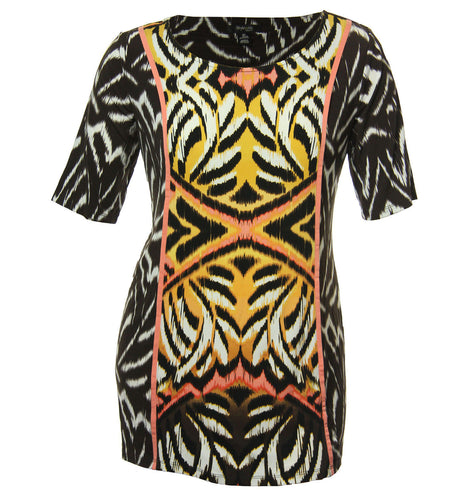 Style & Co Multi Color Abstract Ikat Print Short Sleeve Knit Top