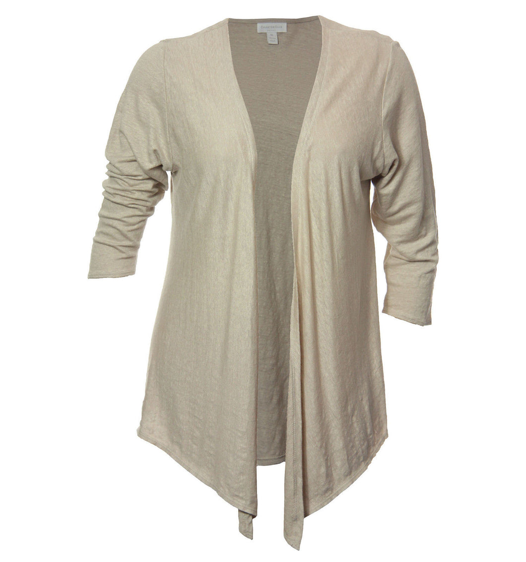 Charter Club Beige Long Sleeve Open Drape Front Cardigan Sweater Shrug